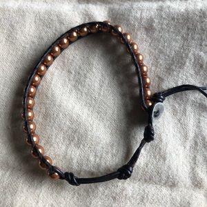 Chan Luu Pearl & Leather Single Wrap Bracelet